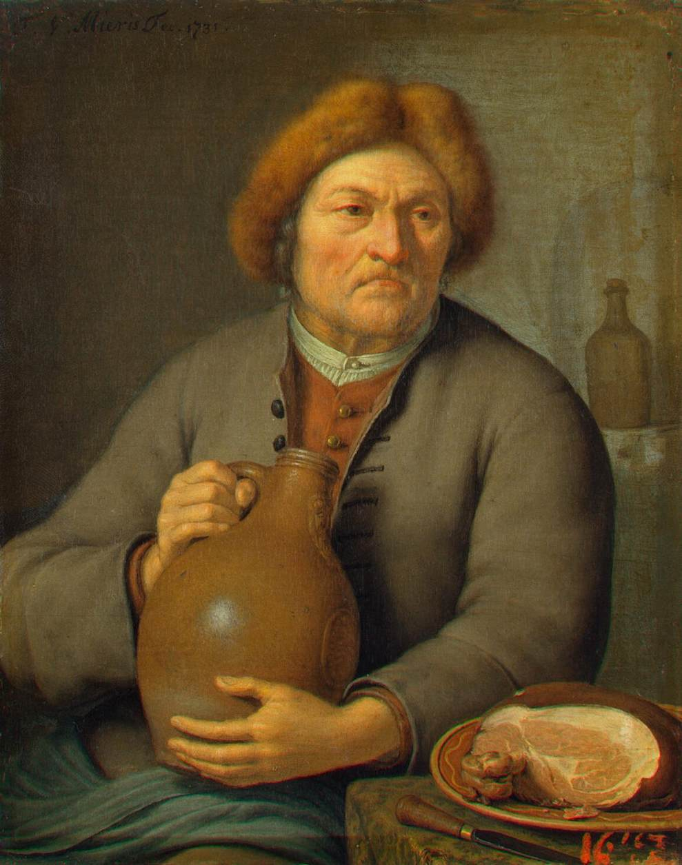 Old Peasant Holding a Jug