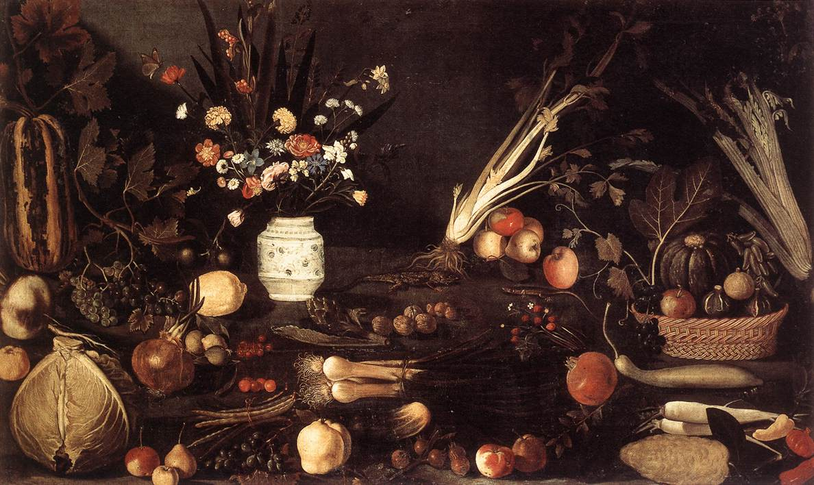Flowers, Fruit, Vegetables and Two Lizards