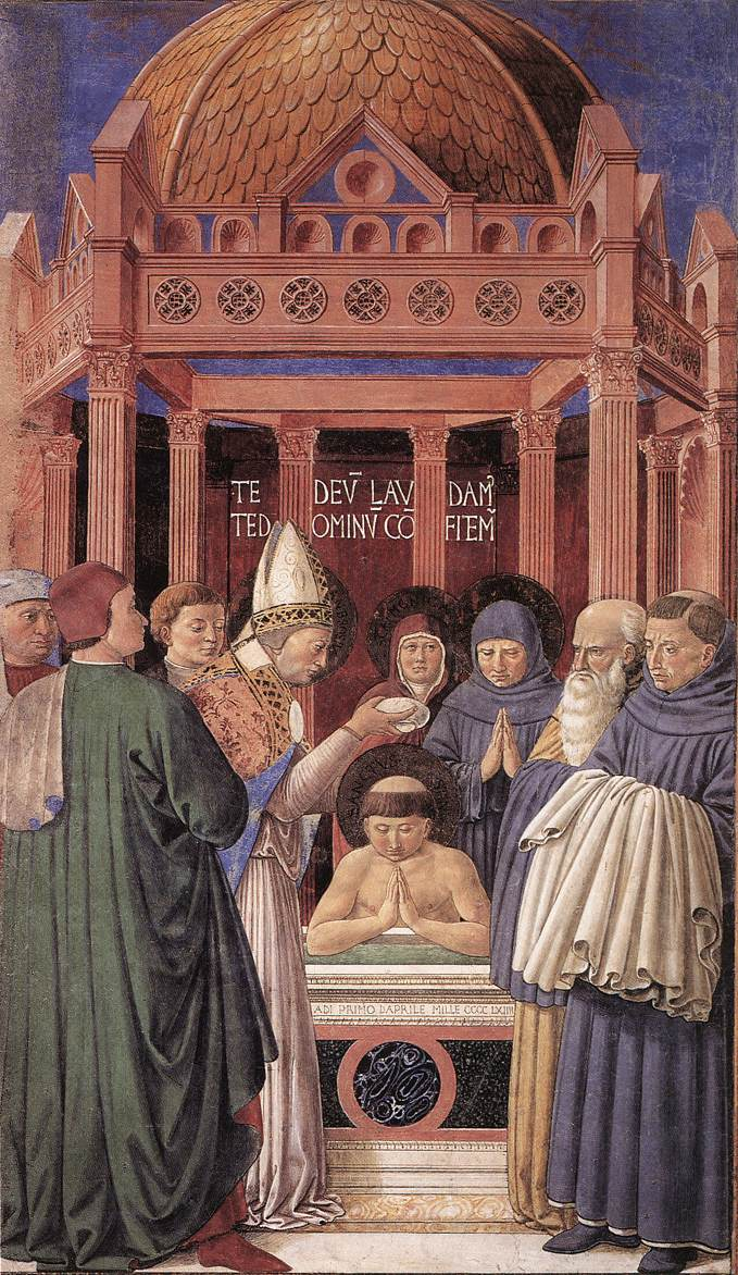Baptism of St Augustine (scene 11, east wall)