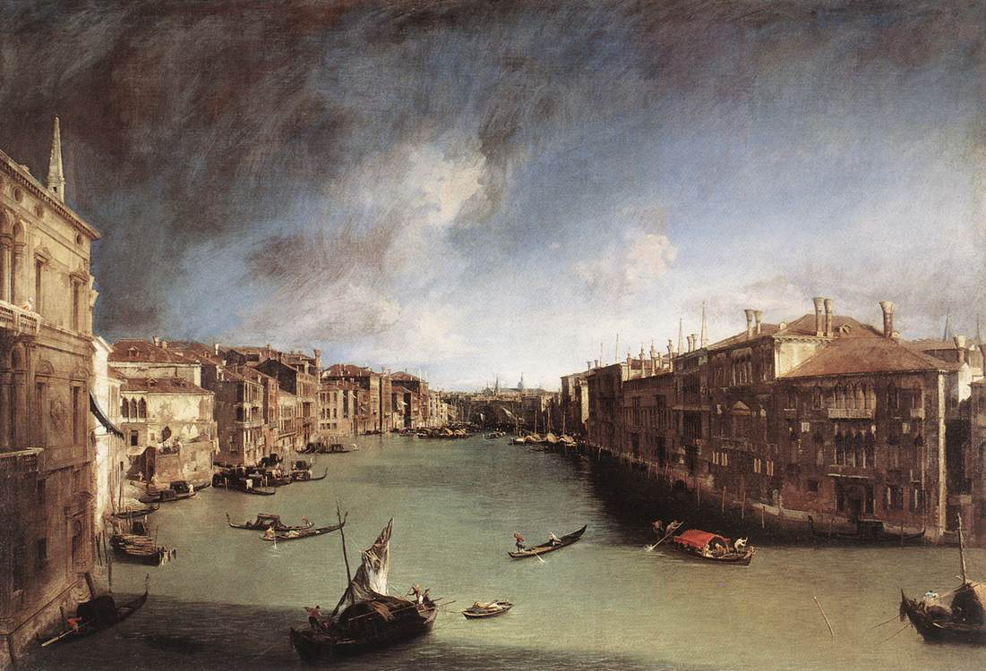 Grand Canal, Looking Northeast from Palazo Balbi toward the Rialto Bridge