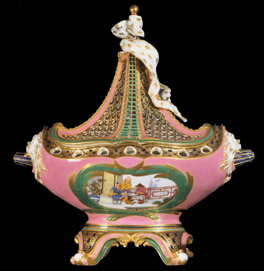 Ship Potpourri with Pink Ground and Chinese Decor