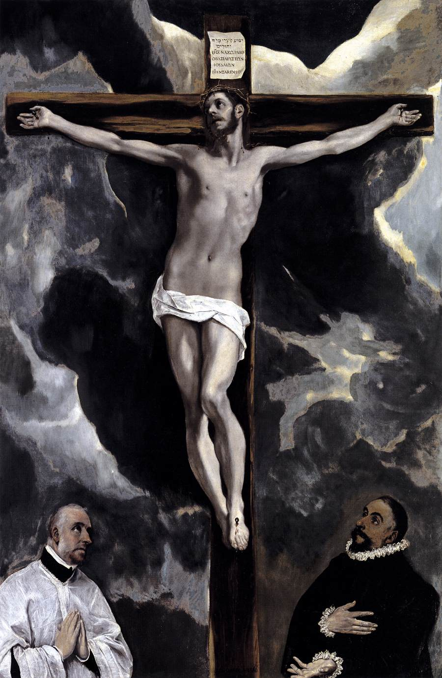 Christ on the Cross Adored by Two Donors