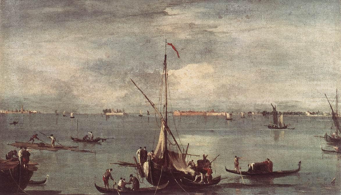 The Lagoon with Boats, Gondolas, and Rafts