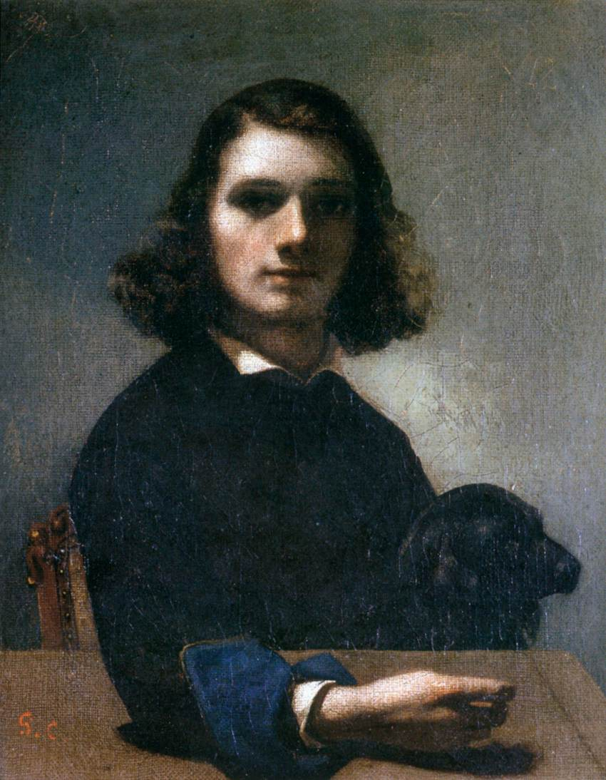 Self-Portrait (Courbet with Black Dog)