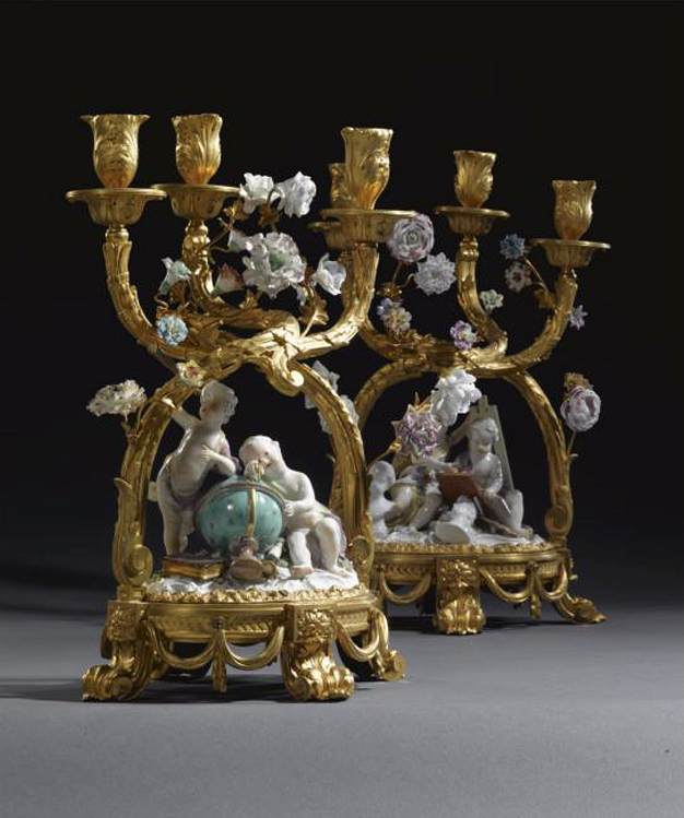 A Pair of Gilt-Bronze-Mounted Meissen Porcelain Candelabra