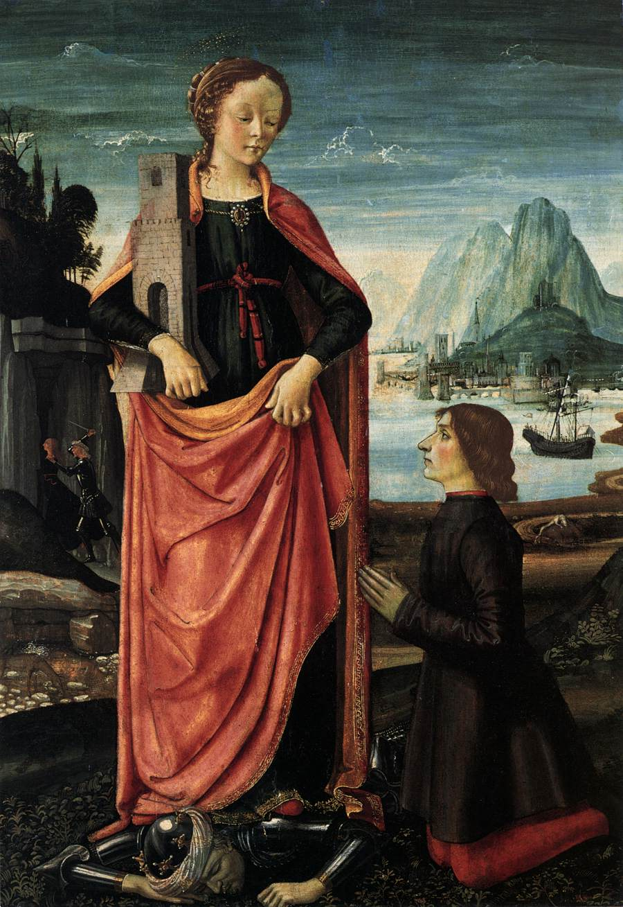 St Barbara Crushing her Infidel Father, with a Kneeling Donor