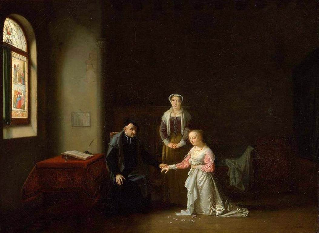 Young Woman Kneeling Before a Priest