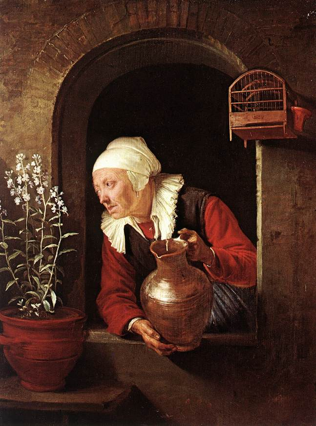 Old Woman Watering Flowers