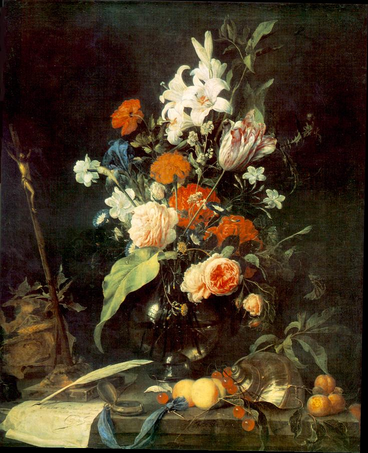 Flower Still-life with Crucifix and Skull