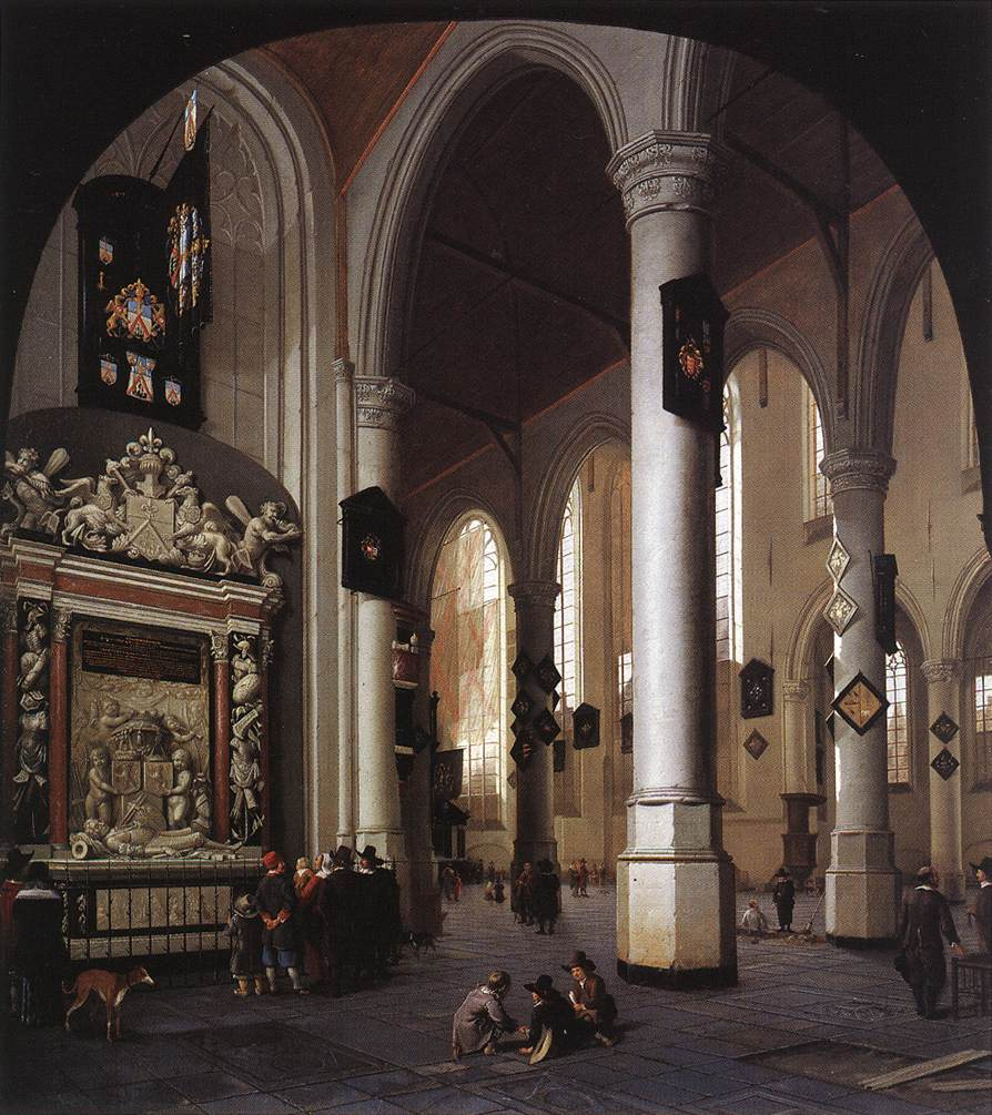 Interior of the Oude Kerk, Delft, with the Tomb of Admiral Tromp