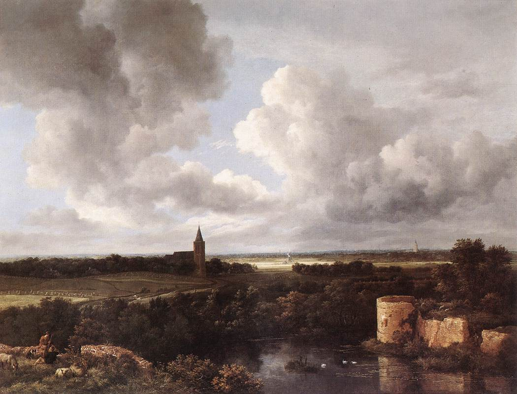 An Extensive Landscape with a Ruined Castle and a Village Church