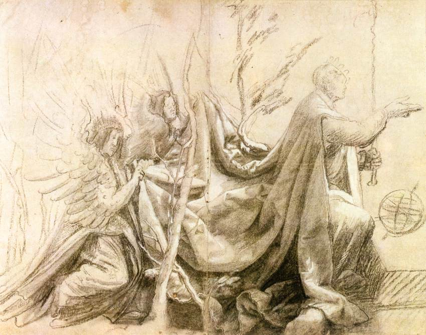 Kneeling King with Two Angels
