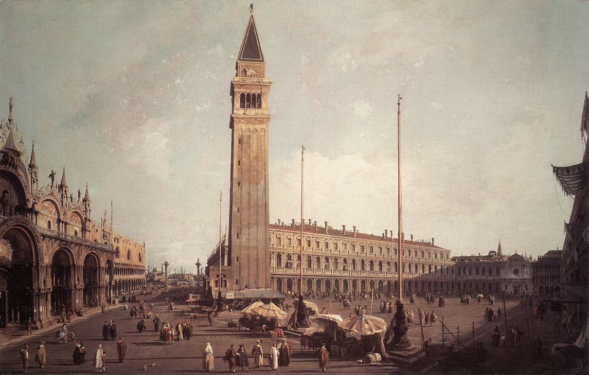 The Piazza san Marco looking south and west by Canaletto