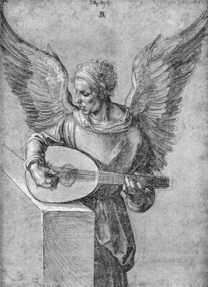 Winged Man, in Idealistic Clothing, Playing a Lute