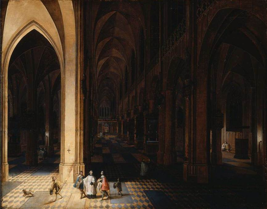 Interior of Antwerp Cathedral at Night