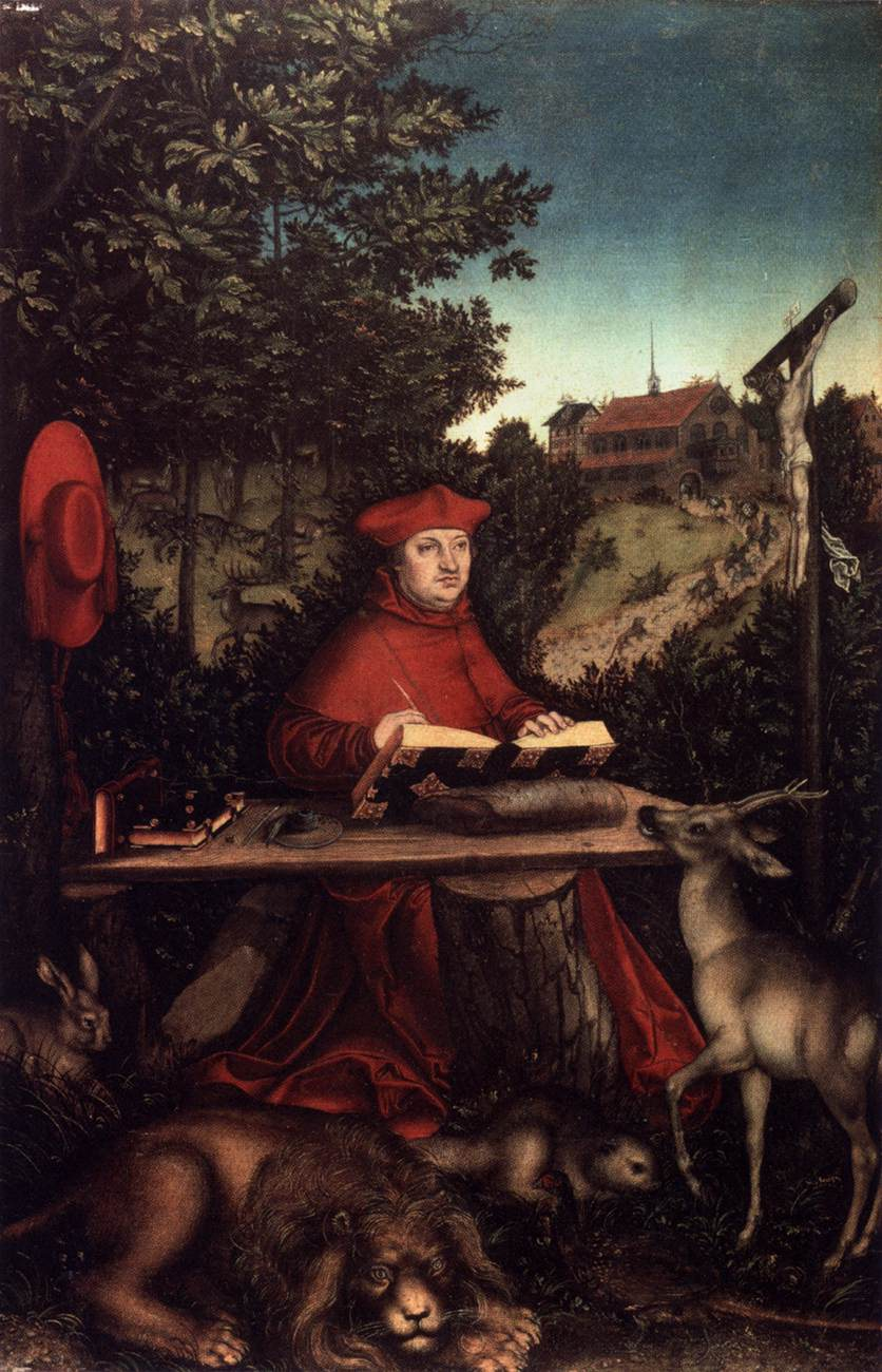 Cardinal Albrecht of Brandenburg as St Jerome in a Landscape