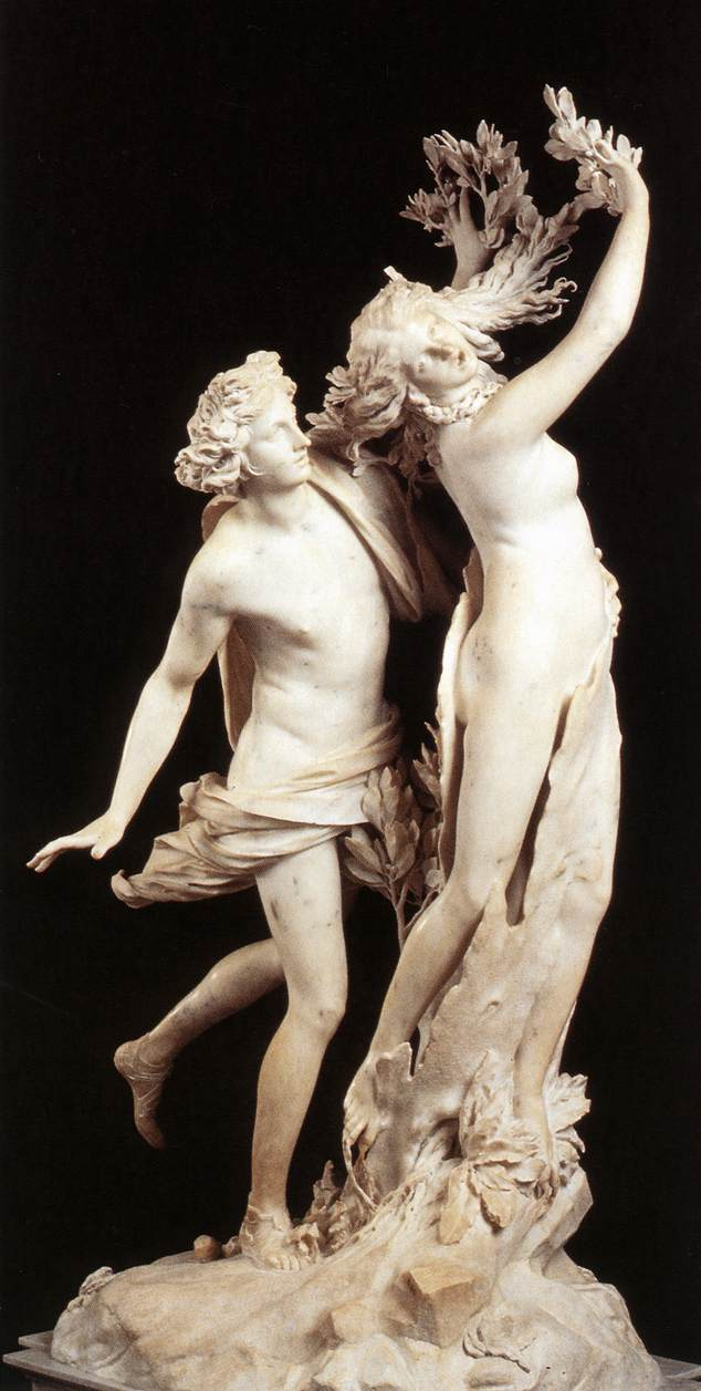apollo and daphne by bernini Executed for cardinal scipione borghese between 1622-1625, gian-lorenzo bernini's masterwork, apollo and daphne, is a sublime execution in white carrara marble depicting the flight of the sylvan nymph, daphne, from the amorous clutches of the besotted apollo.