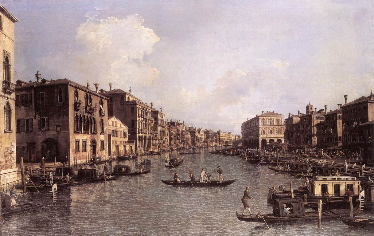 Grand Canal: Looking South-East from the Campo Santa Sophia to the Rialto Bridge