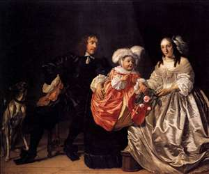 Pieter Lucaszn van de Venne with Anna de Carpentier and Child