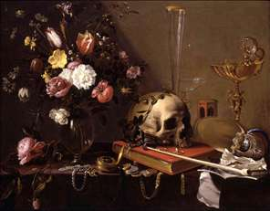 Vanitas Still-Life with a Bouquet and a Skull