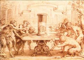 Eight Satyrs Admiring the Anamorphosis of an Elephant