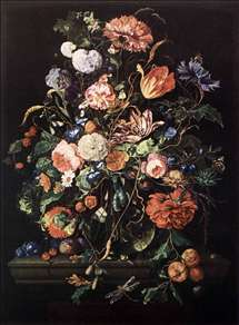 Flowers in Glass and Fruits