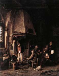 Interior of a Farmhouse with Skaters