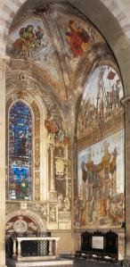 View of the frescoes in the Strozzi Chapel