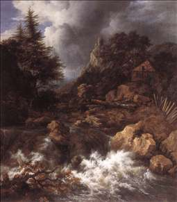 Waterfall in a Mountainous Northern Landscape