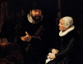 The Mennonite Minister Cornelis Claesz. Anslo in Conversation with his Wife, Aaltje (detail)