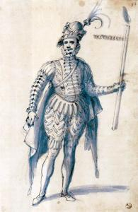 Costume drawing for a male figure with torch