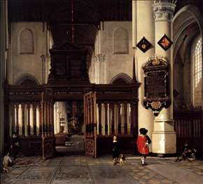 Interior of the Nieuwe Kerk, Delft, with the Memorial Tablet of Adriaen Teding van Berkhout