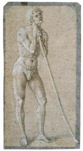 Study of a Standing Male Nude Leaning on a Staff