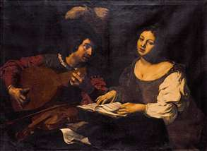 A Musician Playing a Lute to a Singing Girl