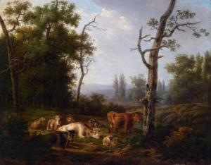Wooded Landscape with Resting Cattle