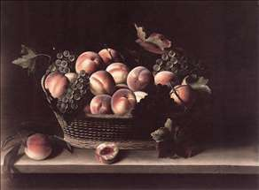 Basket with Peaches and Grapes