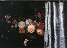 Flower Still-Life with Curtain