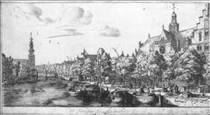 The Prinsengracht and the Noorderkerk at Amsterdam