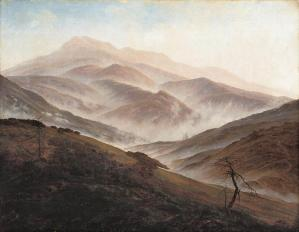 Riesengebirge Landscape with Rising Fog