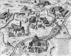 Pilgrims visiting the Seven Churches of Rome during the Holy Year of 1575