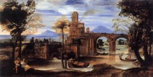 Roman River Landscape with Castle and Bridge