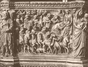 Adoration of the Magi, relief from the pulpit