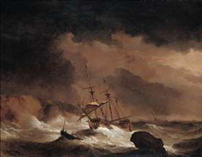 An Indiaman in a Gale off a Rocky Coast