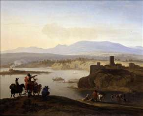 Italianate Landscape with Travellers on Horseback