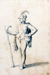 Costume drawing for a male figure with stave