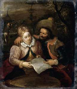 A Young Lady and a Cavalier Holding a Letter