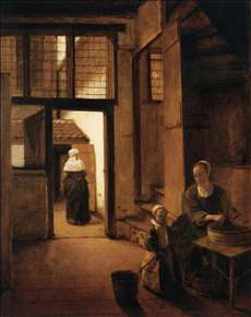 Woman Peeling Vegetables in the Back Room of a Dutch House