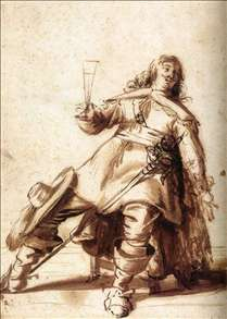 Seated Cavalier with a Sword and a Raised Glass