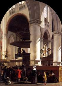 Interior of the Oude Kerk at Delft during a Sermon