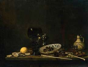 Still-Life with Römer, Flute Glass, Earthenware Jug and Pipes